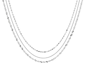 Sterling Silver Set of 3 Diamond-Cut Adjustable Chains