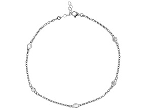 White Cubic Zirconia  Rhodium Over Sterling Silver Cable Link Anklet