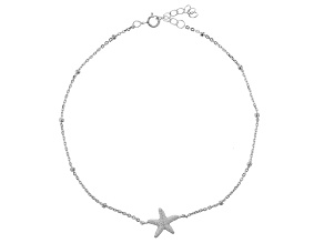 Sterling Silver Starfish Cable Link Anklet