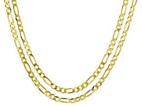 18K Yellow Gold Over Sterling Silver Set of Two 3MM 20 and 24 Inch Figaro Chains