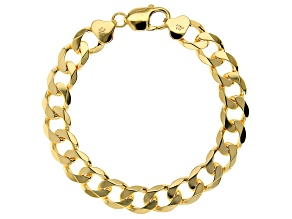 18K Yellow Gold Over Sterling Silver 10.8MM Curb Link Bracelet