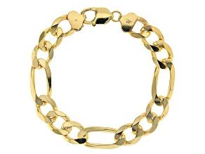 18K Yellow Gold Over Sterling Silver 11.5MM Figaro Link Bracelet