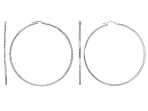 Sterling Silver Set of Two 2x60MM Polished and Diamond-Cut Tube Hoop Earrings