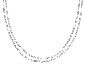 Sterling Silver 2.2MM Paperclip Set of 2 Chains