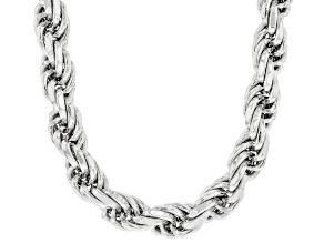 Rhodium Over Sterling Silver 7.5MM Rope Chain