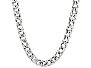 Rhodium Over Sterling Silver 4.6MM Franco Chain