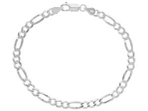 Sterling Silver 4.2MM Flat Figaro Link Bracelet