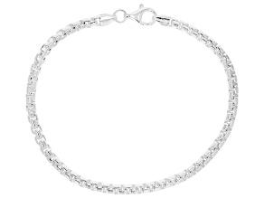 Sterling Silver 3.5MM Round Box Link Bracelet