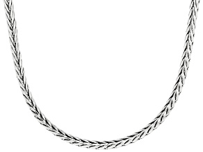 Rhodium Over Sterling Silver 4MM Wheat Chain