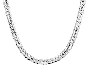 Rhodium Over Sterling Silver 5MM Herringbone Chain