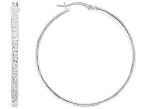 Sterling Silver Greek Key 3MM x 40MM Tube Hoop Earrings