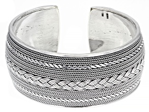 Sterling Silver 27.4MM Oxidized Braided Open Cuff