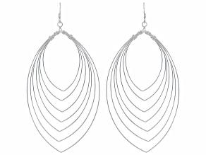 Sterling Silver Multi-Row Leaf Shape Wire Earrings