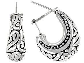 Sterling Silver Oxidized Floral J-Hoop Tube Earrings
