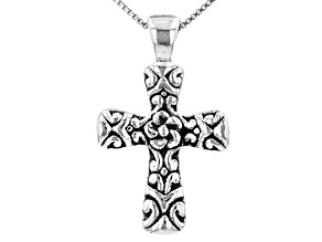 Sterling Silver Oxidized Cross Pendant with Box Chain