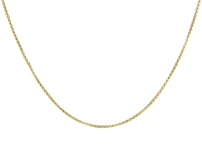 18K Yellow Gold Over Sterling Silver Diamond-Cut Adjustable Popcorn Chain