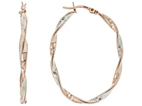 Sterling Silver and 18K Rose Gold Over Sterling Silver Texture Polished Oval Tube Hoop Earrings
