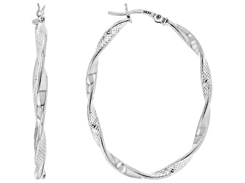 Picture of Sterling Silver Texture Polished Oval Tube Hoop Earrings