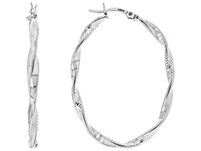 Sterling Silver Texture Polished Oval Tube Hoop Earrings
