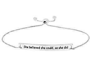 """Sterling Silver """"She Believed She Could, So She Did"""" Adjustable Bar Bracelet"""