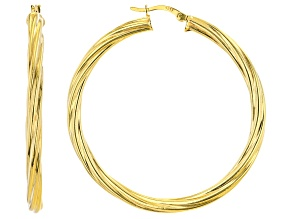 18K Yellow Gold Over Sterling Silver 4X50MM Twisted Tube Hoop Earrings