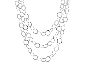 Sterling Silver Set of 3 Flat Hammered Rolo Chains