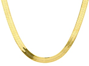 18k Yellow Gold Over Sterling Silver 9MM Herringbone 22 Inch Chain