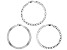 Sterling Silver Set of 3 Flat Curb, Mariner, and Herringbone Link Bracelets