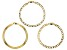 18K Yellow Gold Over Sterling Silver Set of 3 Flat Curb, Mariner, and Herringbone Link Bracelets