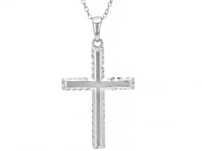 Rhodium Over Sterling Silver Diamond-Cut Cross Pendant with 18 Inch Chain