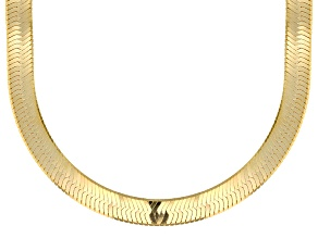 18K Yellow Gold Over Sterling Silver 9MM Herringbone 20 Inch Chain