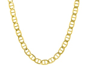 18K Yellow Gold Over Sterling Silver 4.4MM Flat Mariner 18 Inch Chain