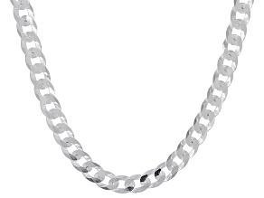 Sterling Silver 4MM Diamond-Cut Curb 22 Inch Chain