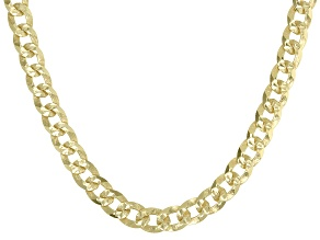 18K Yellow Gold Over Sterling Silver 4MM Diamond-Cut Curb 18 Inch Chain