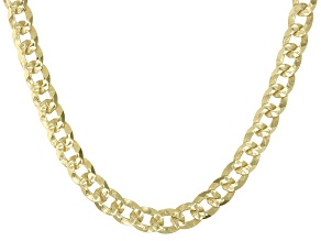 18K Yellow Gold Over Sterling Silver 4MM Diamond-Cut Curb 20 Inch Chain