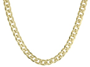 18K Yellow Gold Over Sterling Silver 4MM Diamond-Cut Curb 22 Inch Chain