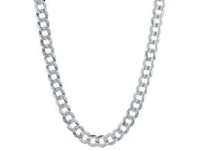 Sterling Silver 7.1MM Diamond-Cut Curb 20  Inch Chain
