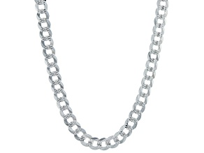 Sterling Silver 7.1MM Diamond-Cut Curb 22 Inch Chain