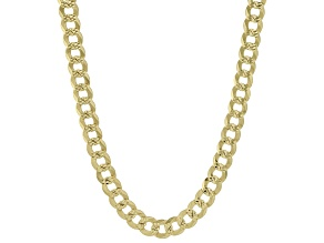18K Yellow Gold Over Sterling Silver 7.1MM Diamond-Cut Curb 22 Inch Chain