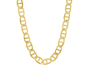 18K Yellow Gold Over Sterling Silver Flat Mariner 22 Inch Chain