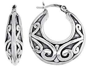 Sterling Silver Oxidized Graduated Floral Tube Hoop Earrings