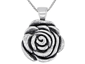Sterling Silver Oxidized Rose Pendant with 18 Inch Box Chain