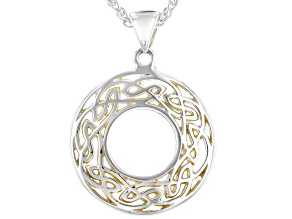 Sterling Silver and 22K Yellow Gold Small Round Pendant with 18 Inch Wheat Chain