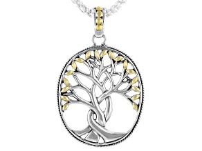 Sterling Silver and 18K Yellow Gold Tree of Life Pendant With 18 Inch Chain