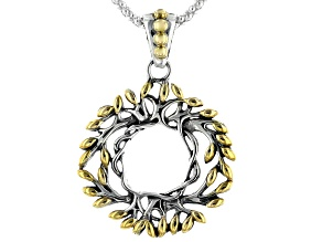 Sterling Silver and 18K Yellow Gold Tree of Life Small Round Pendant with 18 Inch Popcorn Chain
