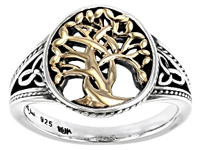 Sterling Silver and 10K Yellow Gold Tree of Life Ring