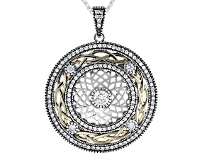 White Cubic Zirconia Sterling Silver and 10K Yellow Gold Pendant with 18 Inch Chain