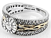 White Cubic Zirconia Sterling Silver and 10K Yellow Gold Brave Heart Ring