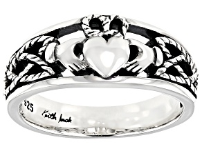 Sterling Silver Oxidized Claddagh Tapered Heart Ring