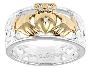 Sterling Silver and 10K Yellow Gold Claddagh Ring with 1mm Diamond Set Heart